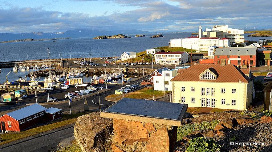 The view-dial on Bókhlöðuhöfði in Stykkishólmur