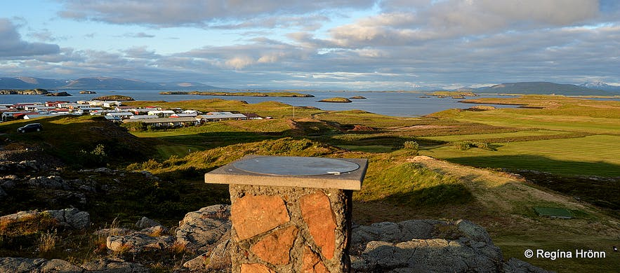 The view-dial on Vatnsás in Stykkishólmur