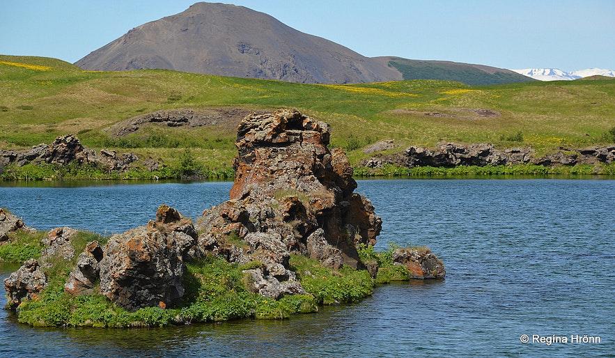 Lava pillars by Lake Mývatn