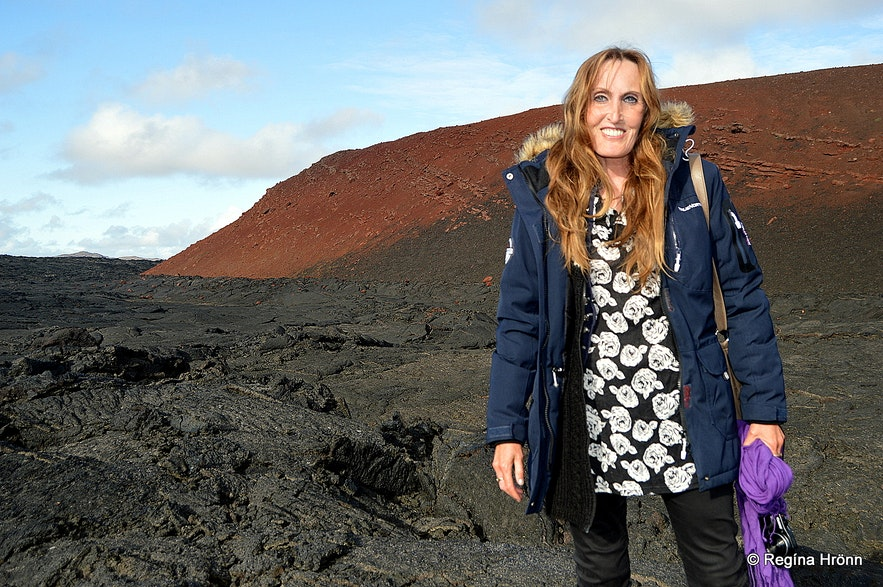 Regína at Gjástykki lava field