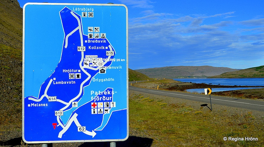 Westfjord road sign with directions