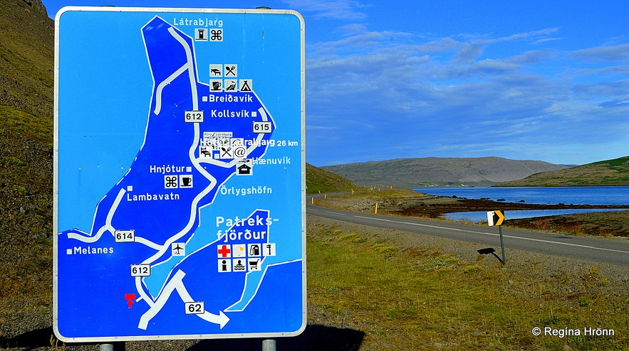 Road sign leading to Látrabjarg and Rauðasandur