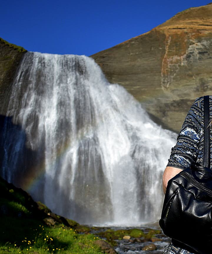 Regína at Skeifárfoss waterfall Tjörnes peninsula North-Iceland