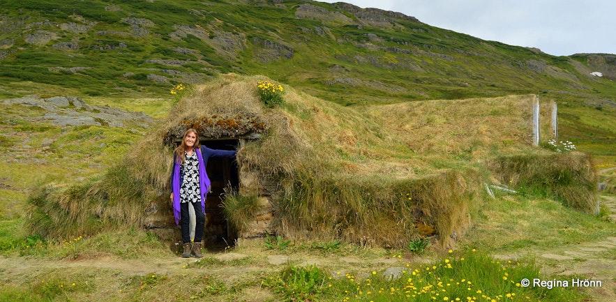 Regína at Sorcerer's Cottage in Bjarnarfjörður in the Westfjords of Iceland - Kotbýli kuklarans
