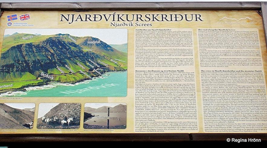 The information sign at Njarðvíkurskriður