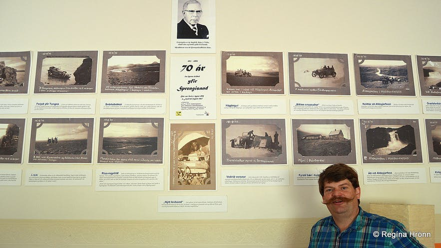 Regína's husband at the photo exhibition in Bárðadalur valley