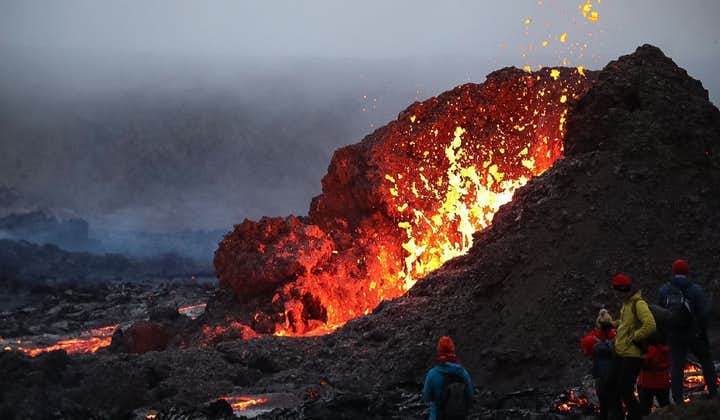 Fire bursts from a crater at Geldingadalur.