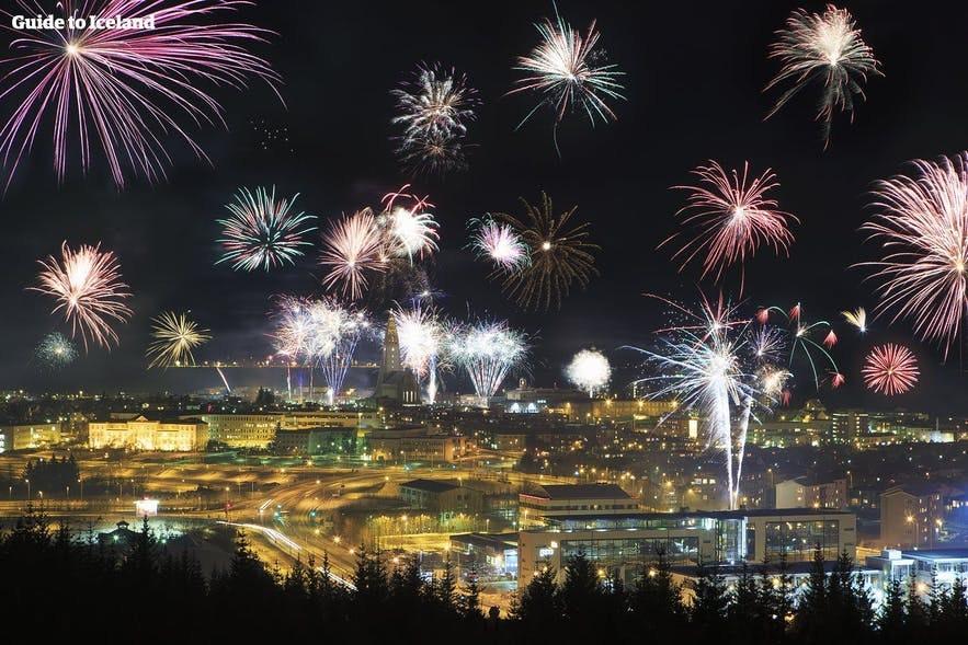 New Year fireworks burst over Reykjavik.