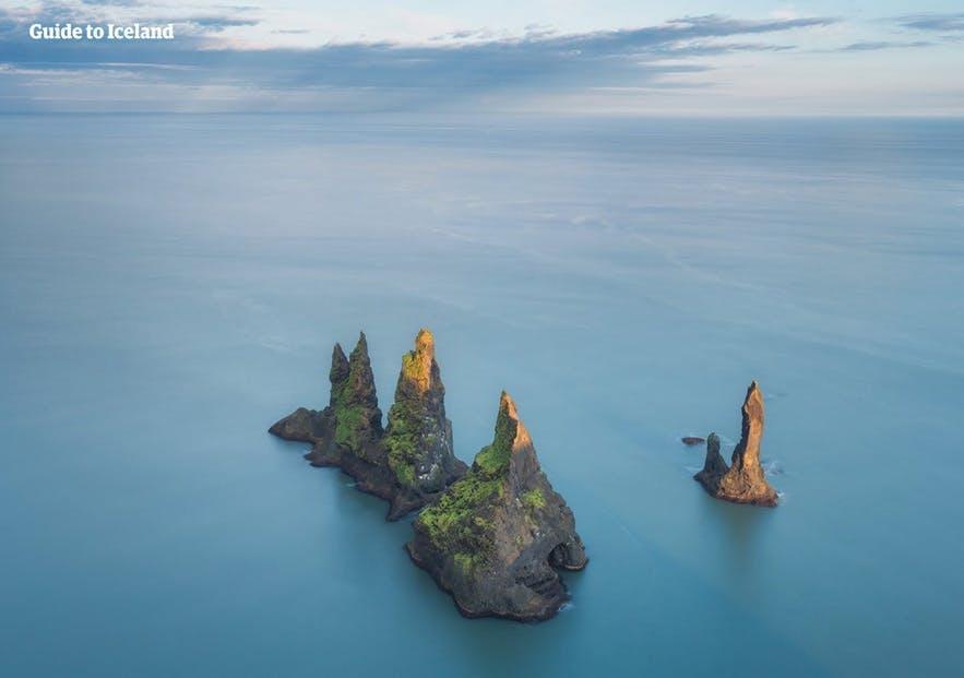 Reynisdrangar sea stacks as seen from the ocean.