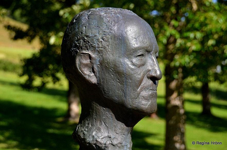 The bust of Gunnar Gunnarsson at Skriðuklaustur