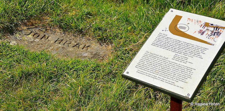 The grave of Jón Hrak at Skriðuklaustur