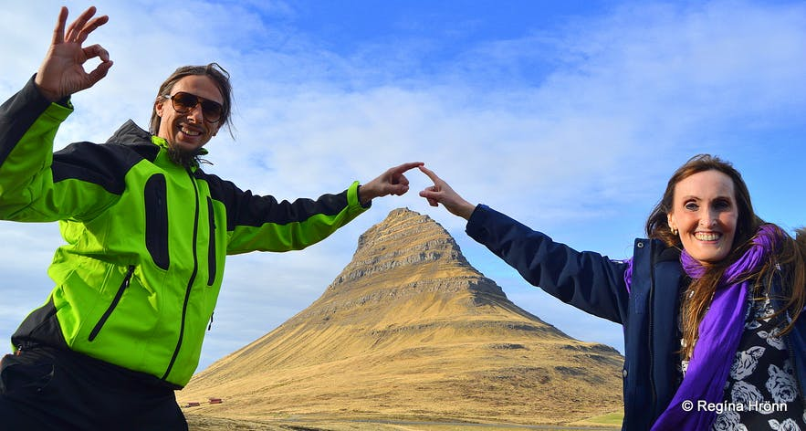 Regína with the tour guide at Nicetravel by Mt. Kirkjufell