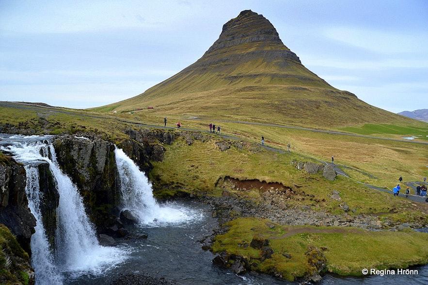 Mt. Kirkjufell and Kirkjufellsfoss waterfall
