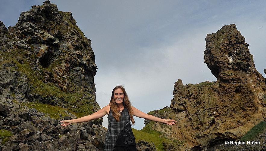 Regína by Lóndrangar cliffs at Snæfellsnes peninsula