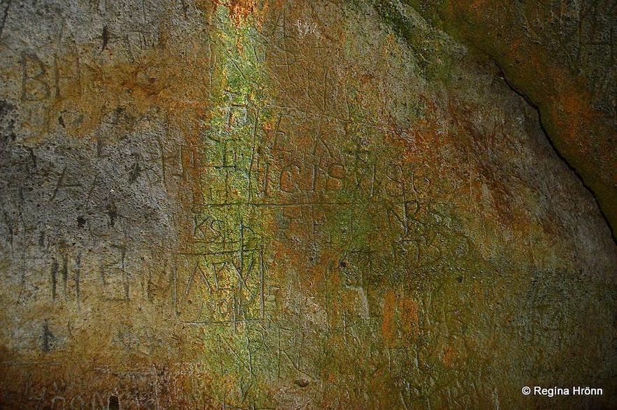 Carvings in Sönghellir cave Snæfellsens