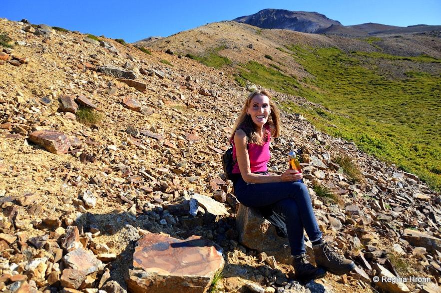 Regína having picnic at Mt. Drápuhlíðarfjall Snæfellsnes