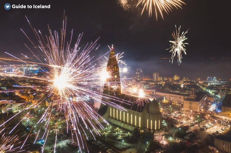 Reykjavik lights up on New Years Eve.