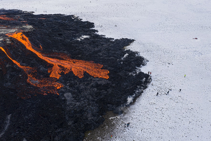 Fagradalsfjall spills lava from its craters.