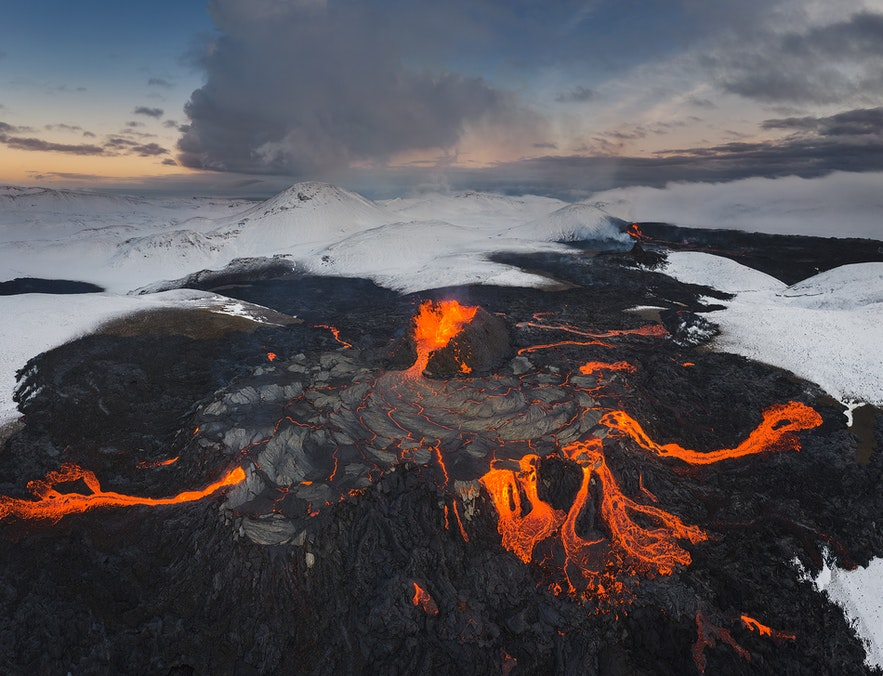 Lava spills from a crater at Fagradalsfjall.