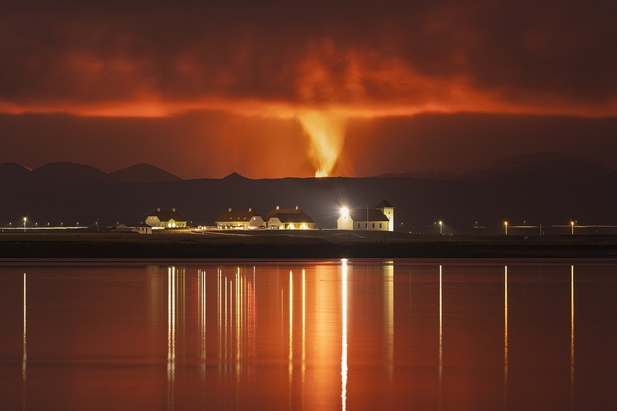 Lava from the Fagradalsfjall volcano is visible from Reykjavik.