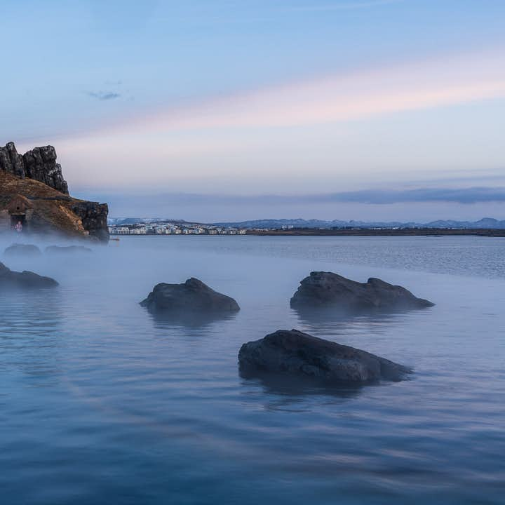 Steam rises from the Sky Lagoon.
