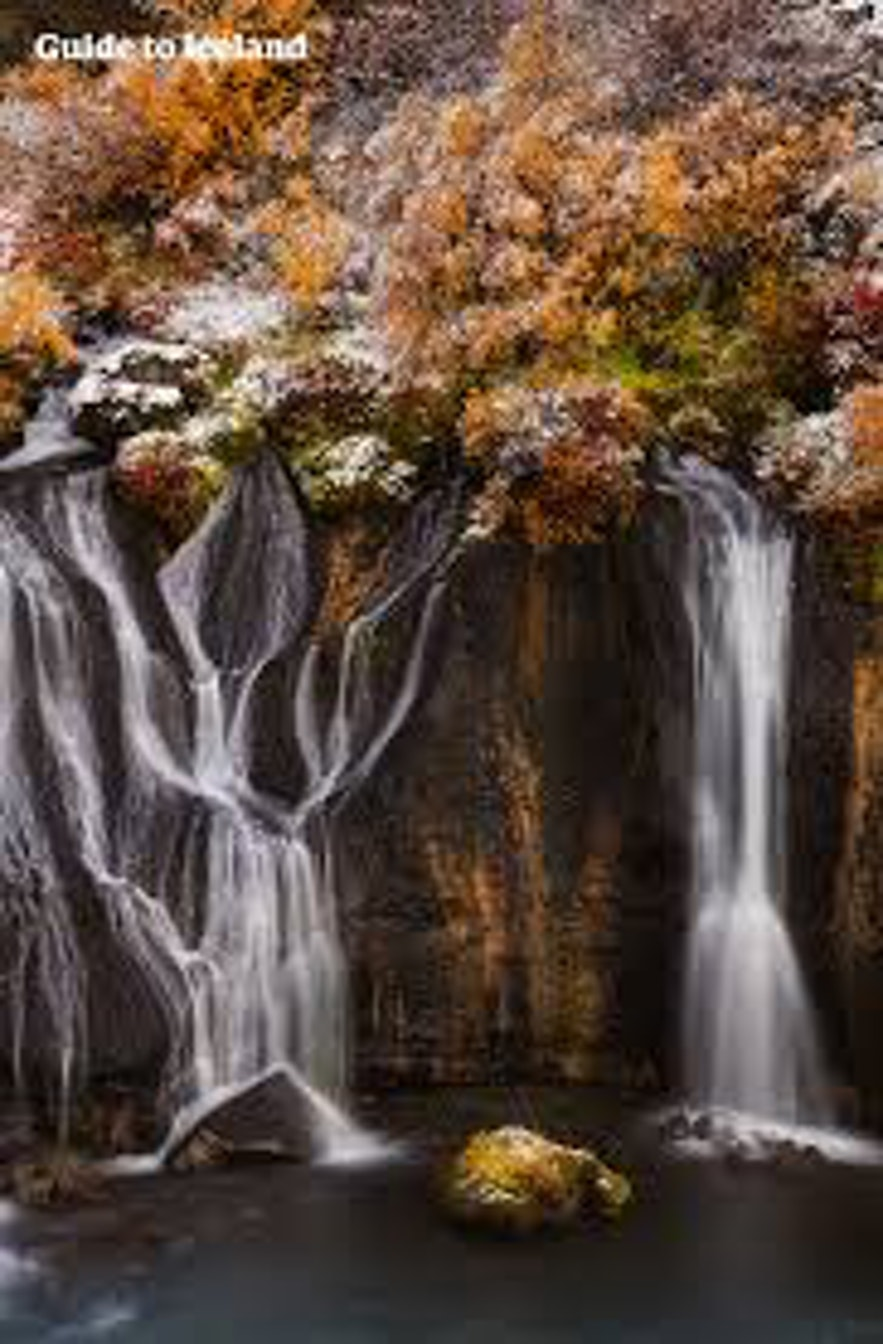 West Iceland has many waterfalls such as Hraunfossar.