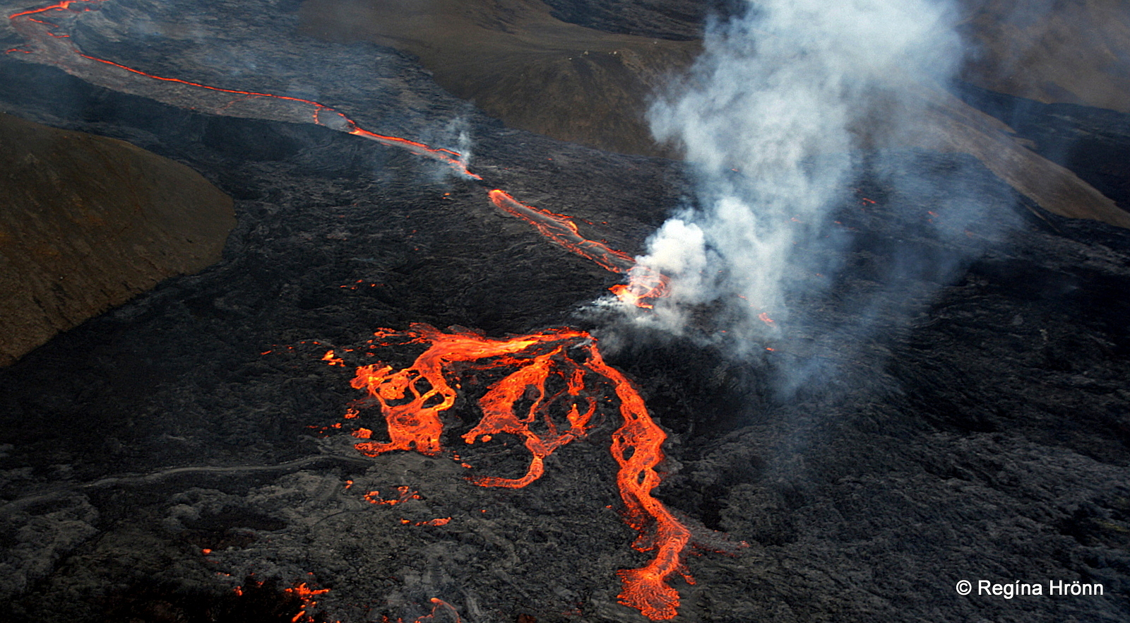A Helicopter Ride to the Volcanic Eruption in Mt. Fagradalsfjall in SW-Iceland