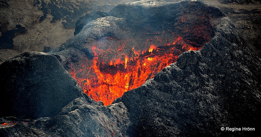 The volcanic crater in Mt. Fagradalsfjall Iceland