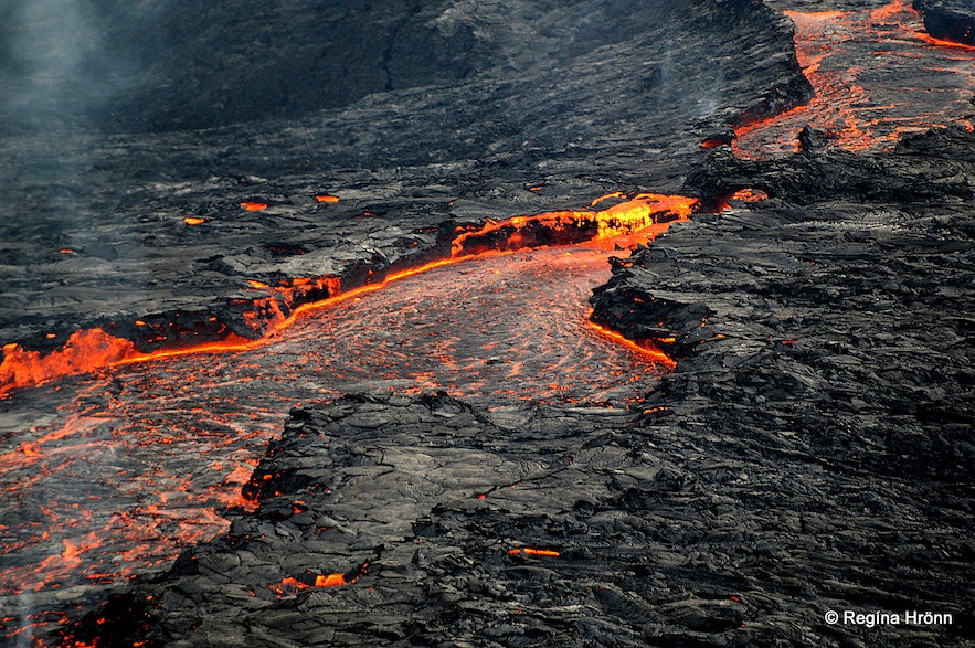 The lava flow from the volcanic eruption in Mt. Fagradalsfjall