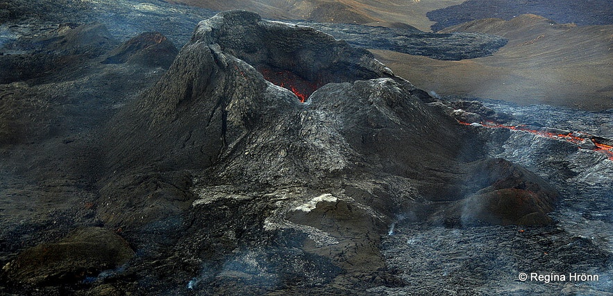 The volcanic crater in Mt. Fagradalsfjall