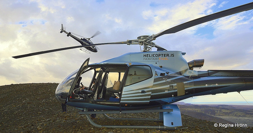 The helicopter ride to the volcanic area in Iceland