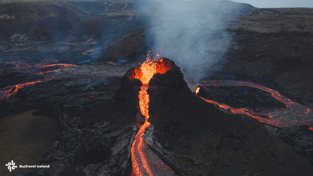 Craters spurt and magma rivers flow at Fagradalsfjall eruption in Iceland.