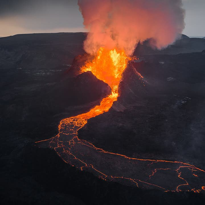 Glowing lava from Fagradalsfjall volcano.