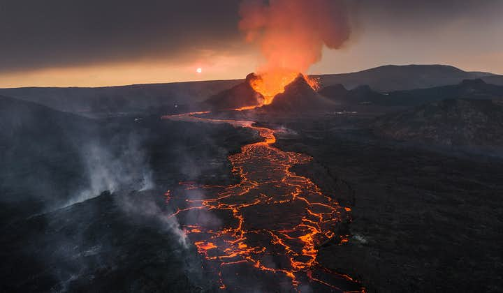 A sunset shot of the eruption at Fagradalsfjall volcano.