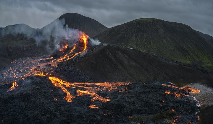 A breathtaking aerial view over Fagradalsfjall volcano on Iceland's Reykjanes Peninsula.