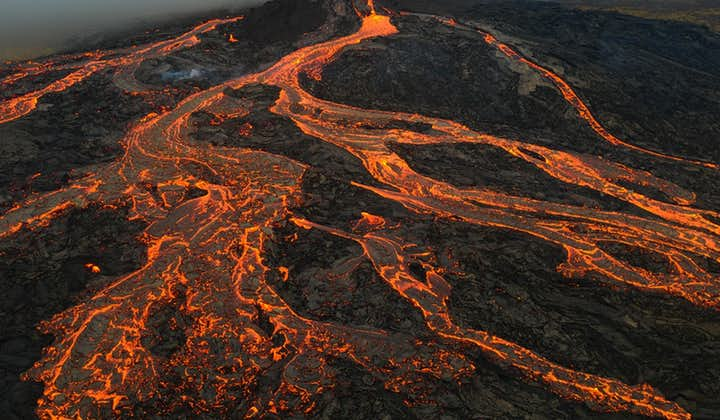 Fagradalsfjall Volcano erupts into flames in Iceland.