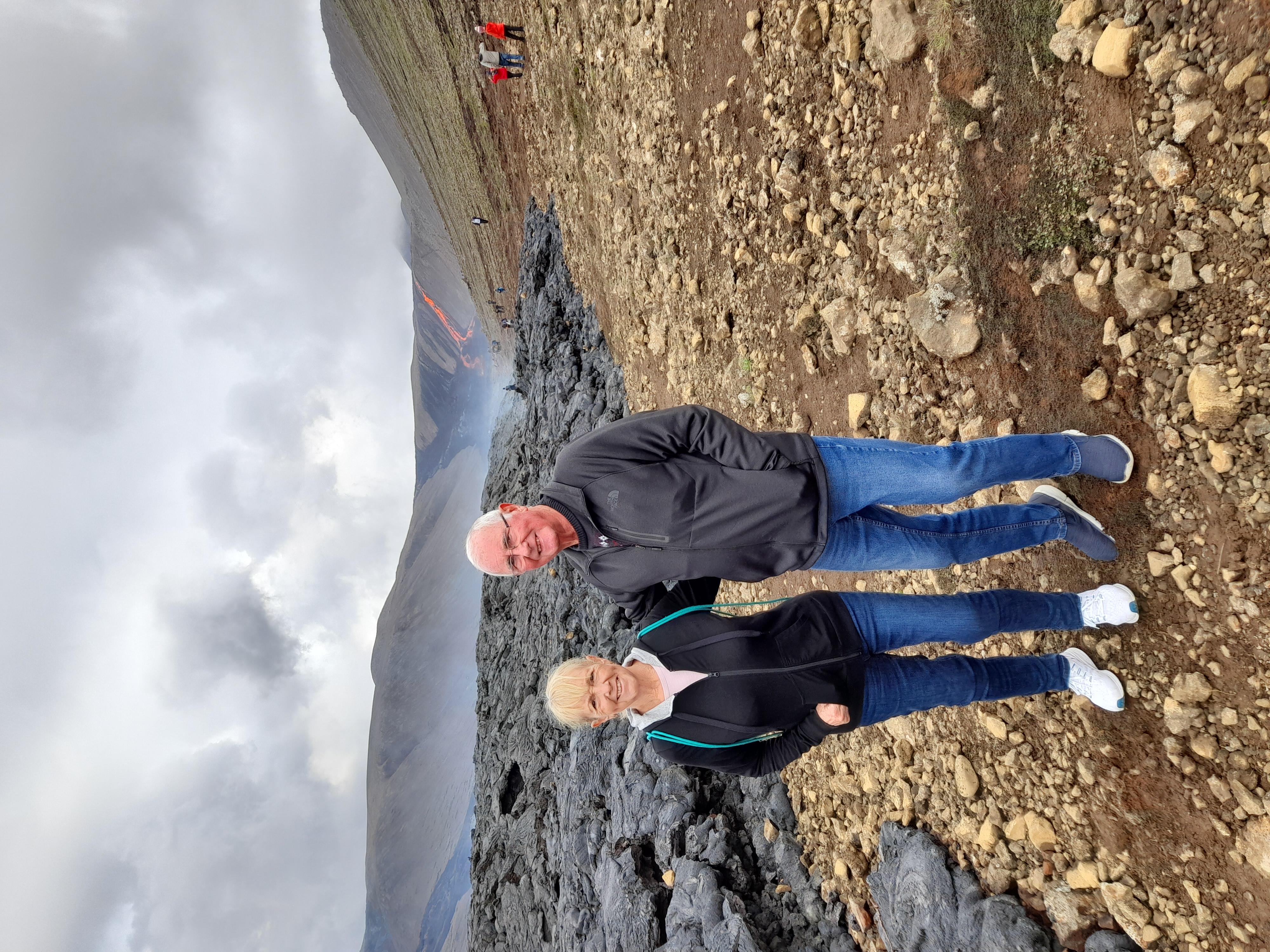 A couple at Fagradalsfjall volcano.