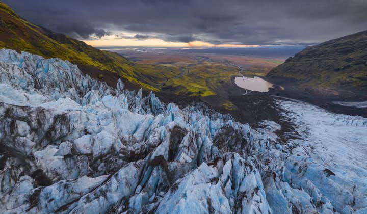 The view over blue ice from the glaciers of Skaftafell.