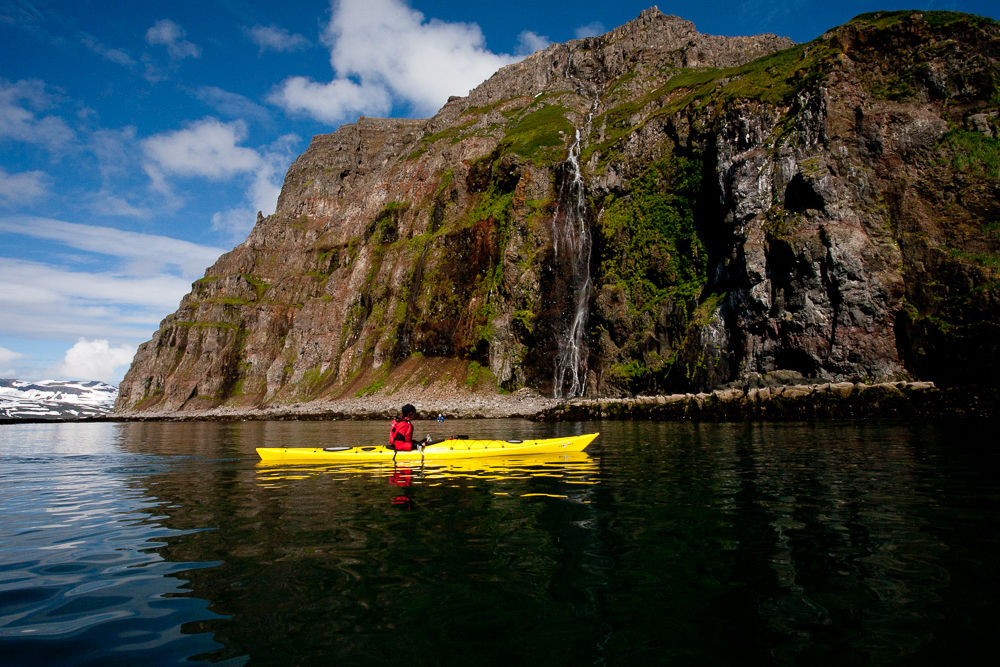 A kayaker in the Westfjords.