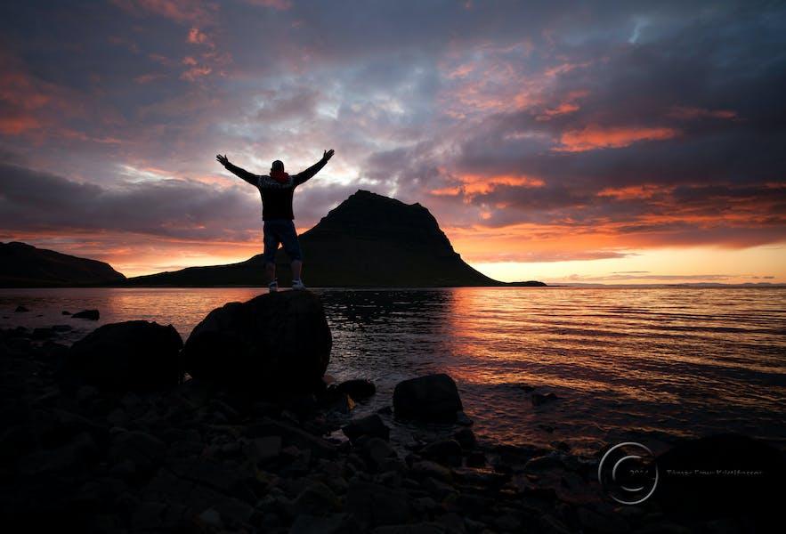 Sunset over Kirkjufell mountain
